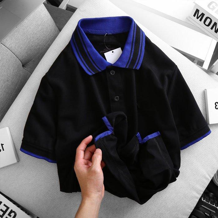 Áo thun nam cổ bẻ logo ở ngực trái phối viền ở cổ và tay áo màu đen 1