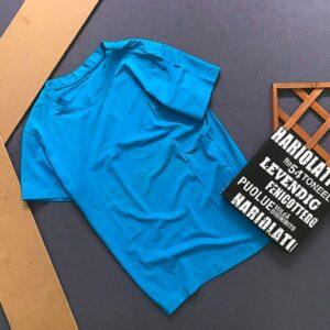 Áo thun nam trơn cổ tròn 1 màu xanh biển