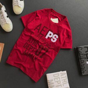 Áo thun nam cổ tròn với dòng chữ Aeps California 87 trước ngực màu đỏ