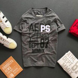 Áo thun nam cổ tròn với dòng chữ Aeps California 87 trước ngực màu xám