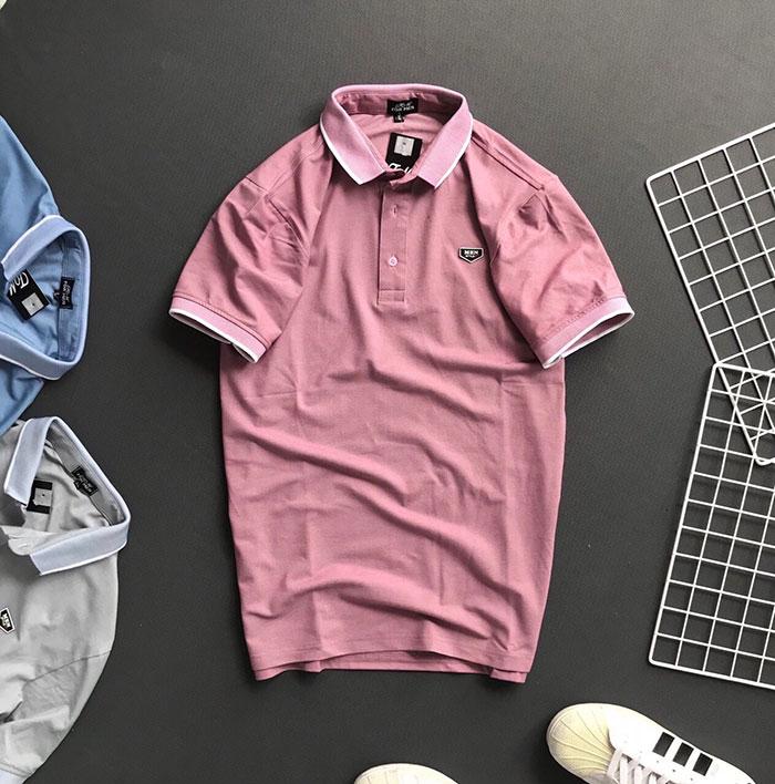Áo thun nam trơn Formen cổ bẻ với bo viên màu ở cổ và tay áo hồng