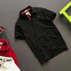 Áo thun nam trơn cổ bẻ logo R chất liệu thun cá mập chất lượng đen