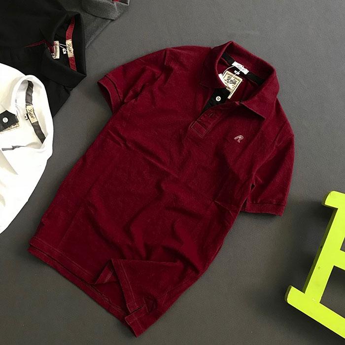Áo thun nam trơn cổ bẻ logo R chất liệu thun cá mập chất lượng đỏ
