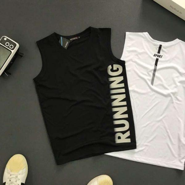Áo thun nam ba lỗ cá tính với chữ Running den