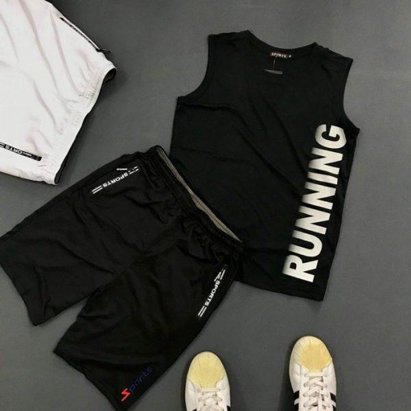 Set quần áo thể thao với áo thun ba lỗ Running áo đen quần đen