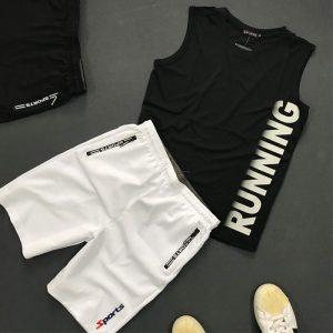Set quần áo thể thao với áo thun ba lỗ Running áo đen quần trắng