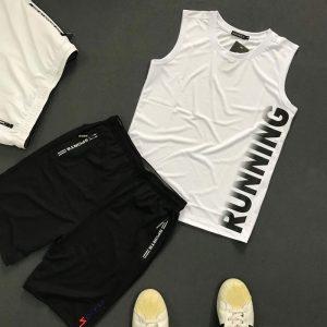 Set quần áo thể thao với áo thun ba lỗ Running áo trắng quần đen
