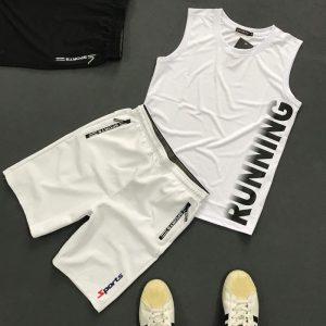 Set quần áo thể thao với áo thun ba lỗ Running áp trắng quần trắng