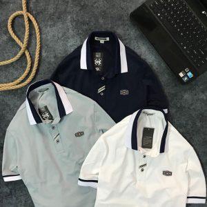 Áo thun nam trơn cổ bẻ phối viền trắng xanh đen ở cổ và tay áo