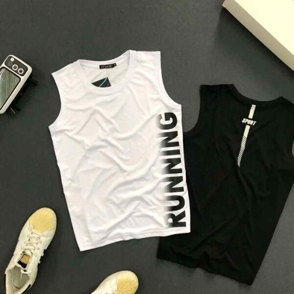 Áo thun nam ba lỗ cá tính với chữ running màu trắng