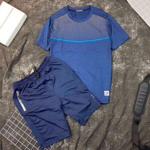 Set đồ bộ thể thao áo xanh đen quần xanh đen