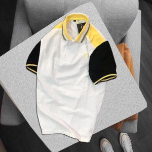 Áo thun nam HeyBoy cổ bẻ trắng vàng đen