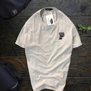 Áo thun nam Pagesus cổ tròn logo chữ P màu xám sữa