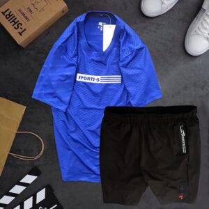 Set đồ áo thun thể thao nam xanh dương quần short đen