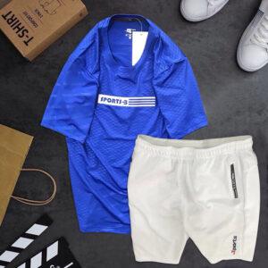 Set đồ áo thun thể thao nam xanh dương quần short trắng