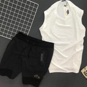 Độ bộ thể thao nam áo Pegasus trắng quần short USA đen
