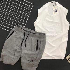 Độ bộ thể thao nam áo Pegasus trắng quần short USA xám đậm