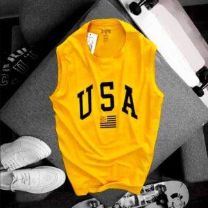Áo thun nam balo USA màu vàng