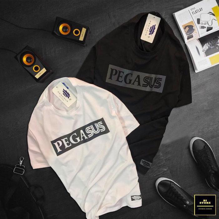 Áo thun nam Pegasus cổ tròn đen trắng