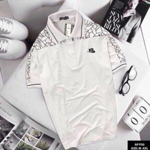 Áo thun nam Sport phối họa tiết màu trắng