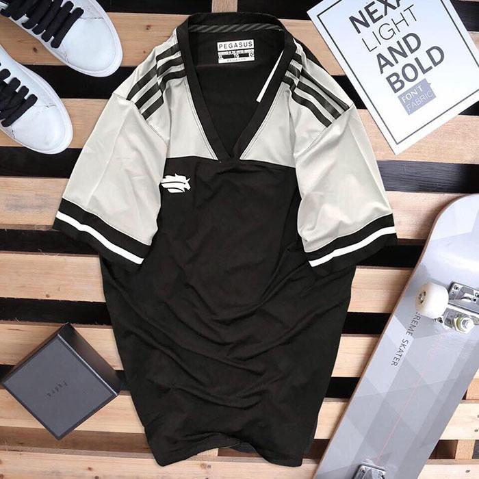 Áo thun thể thao nam Pegasus đen phối trắng