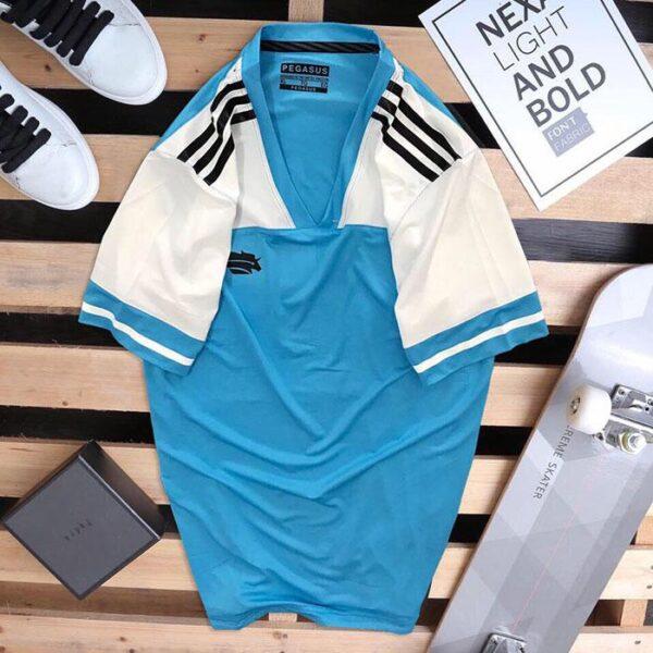 Áo thun thể thao nam Pegasus xanh dương phối trắng
