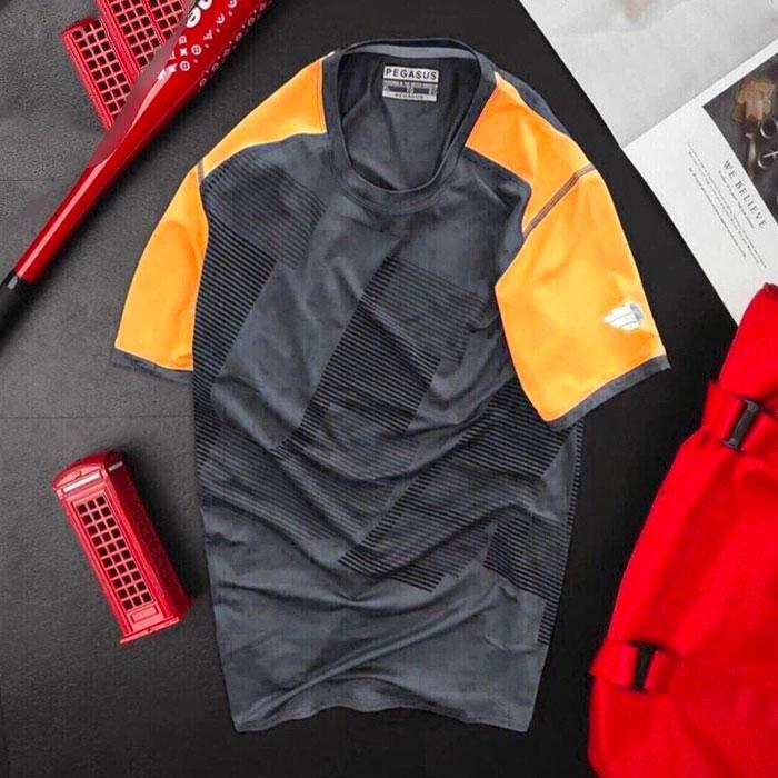 Áo thun nam thể thao cổ tròn màu đen phối tay màu cam