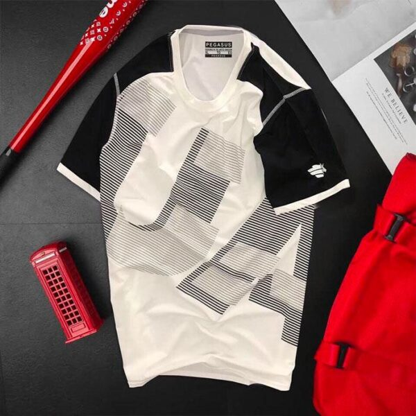 Áo thun nam thể thao cổ tròn màu trắng phối tay màu đen
