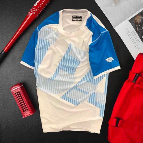 Áo thun nam thể thao cổ tròn màu trắng phối tay màu xanh biển