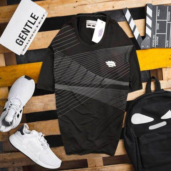 Áo thun nam thể thao PU đen