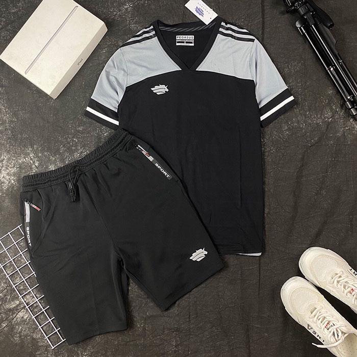 Áo thun thể thao cổ V đen xám phối quần short thun đen