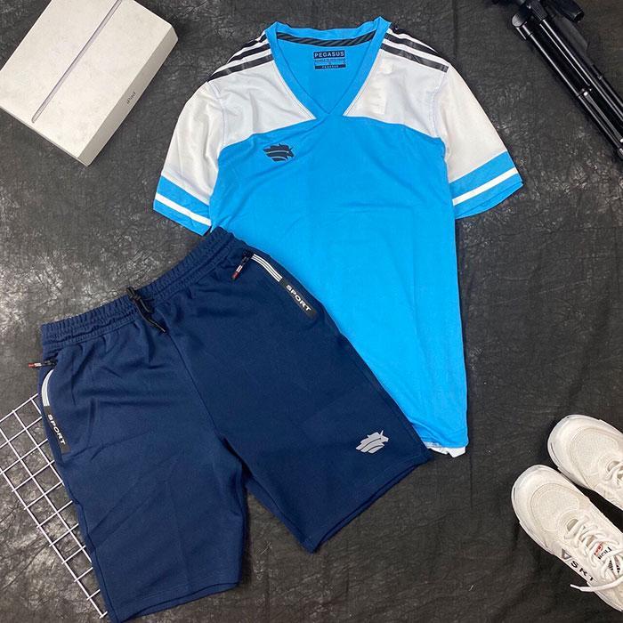 Áo thun thể thao cổ V trắng xanh dương phối quần short thun đen