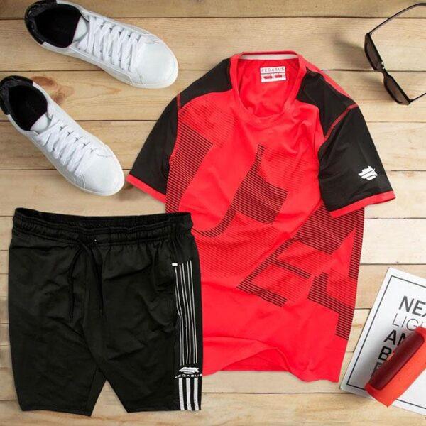 áo thun thể thao nam cổ tròn màu đỏ quần đen