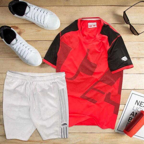 áo thun thể thao nam cổ tròn màu đỏ quần trắng