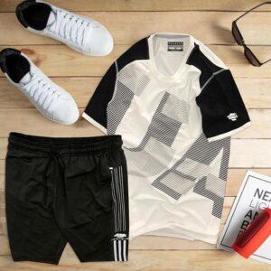 áo thun thể thao nam cổ tròn màu trắng phối tay đen quần đen