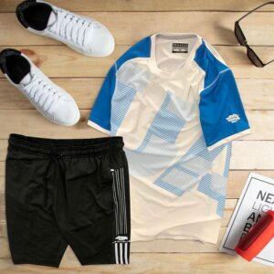 áo thun thể thao nam cổ tròn màu trắng phối tay xanh dương quần đen