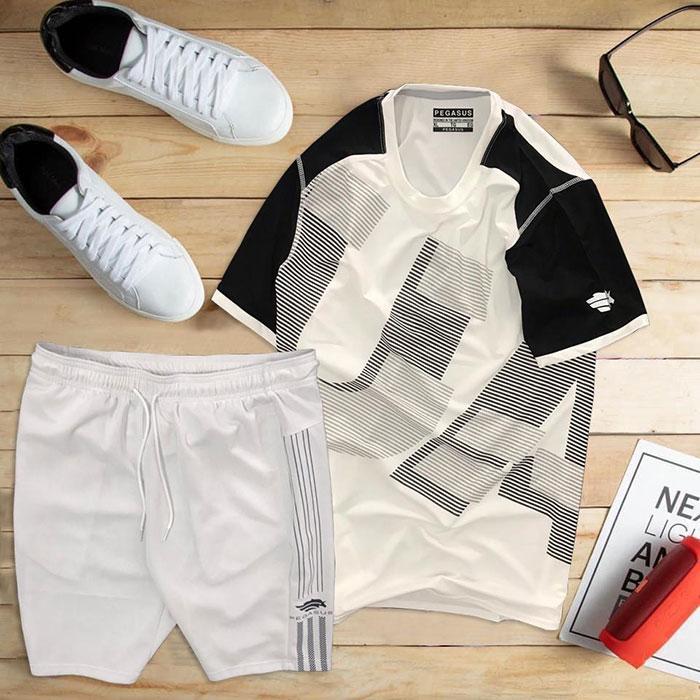 áo thun thể thao nam cổ tròn màu trắng phối tay đen quần trắng
