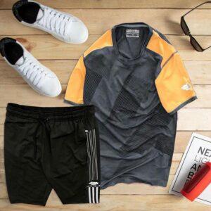 áo thun thể thao nam cổ tròn màu đen phối tay cam quần đen