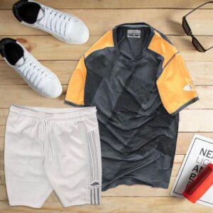 áo thun thể thao nam cổ tròn màu đen phối tay cam quần trắng