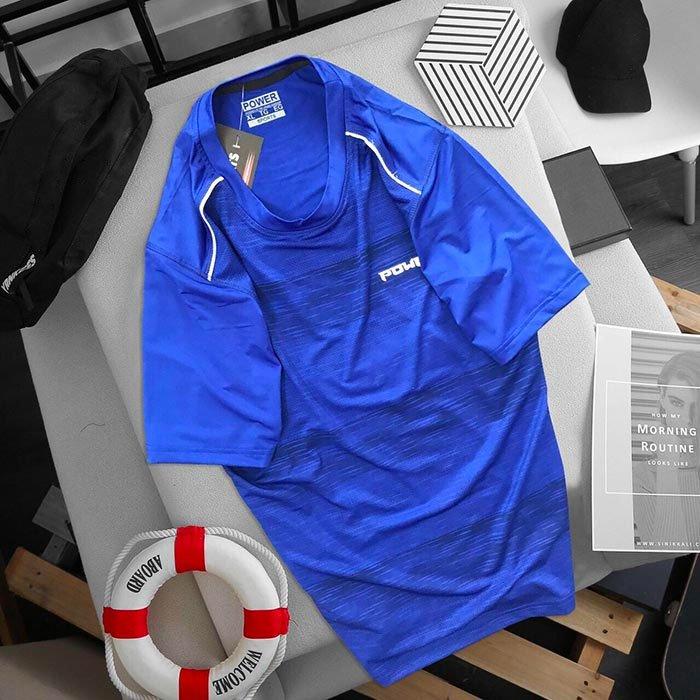 Áo thun cổ tròn  Power màu xanh dương