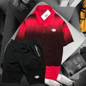 Áo đỏ đen quần short đen Pegasus