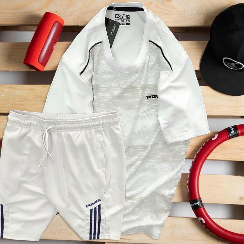 Set áo thun trắng Power quần short trắng Parpa