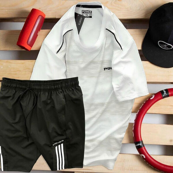 Set áo thun trắng Power quần short đen Parpa