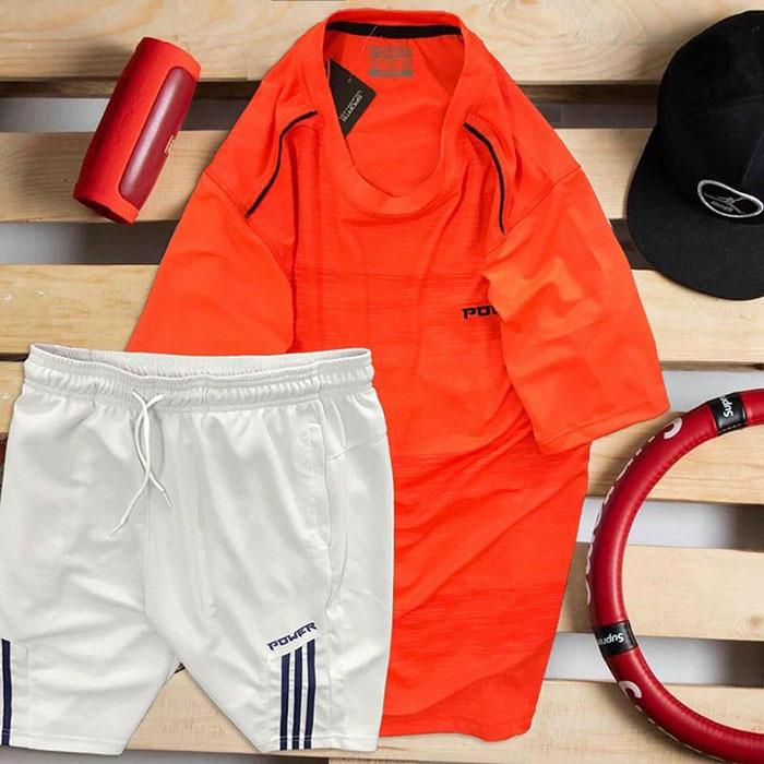 Set áo thun đỏ Power quần short trắng Parpa