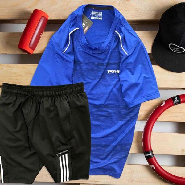 Set áo thun xanh biển Power quần short đen Parpa