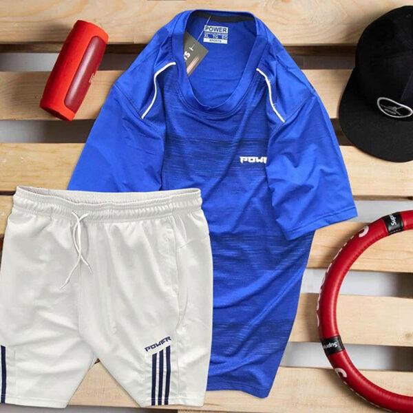 Set áo thun xanh biển Power quần short trắng Parpa