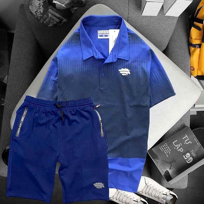 Áo xanh biển quần xanh đen Pegasus