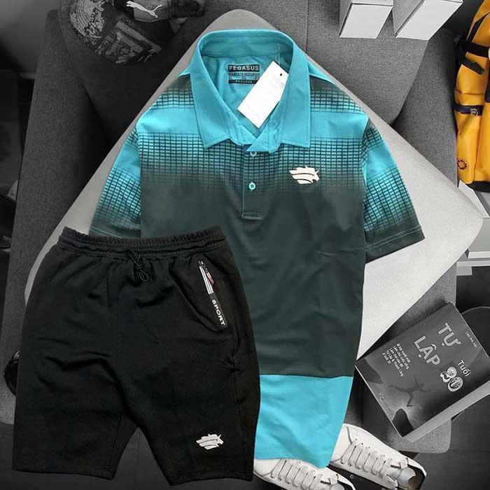 Áo xanh lá đen quần đen Pegasus