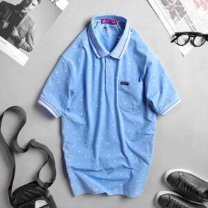 Áo thun nam cotton cao cấp xanh da trời